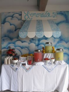 I'm thinking four pitchers . Water, tea, lemonade & pink lemonade. With bowls of lemons, limes, strawberries & cherries