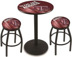 Texas A&M Aggies D2 Black Pub Table Set.  Available in two table widths. Visit SportsFansPlus.com for Details.