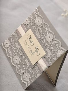 Thank You Card - Lace and Ribbon