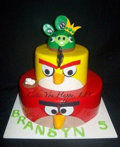 Angry Birds Cake- could do either to bottom tier or middle tier w/ the small pig on top... what do you think?