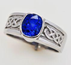 Very fine, unheated, flawless top cornflower blue, Kashmir color 4 carat sapphire in platinum. Made as an astrological talisman.