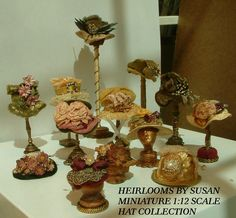 OH THE HATS TO DREAM UP. MAY NEED A HAT ROOM!    MINIATURE 1:12 SCALE HAT COLLECTON