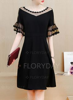 Dresses - $40.99 - Polyester Solid Half Sleeve Knee-Length Cute Dresses (1955201620)