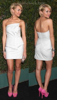 Chelsea Kane in an asymmetrical neckline little white dress offset beautifully by super-pink pumps