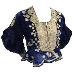 Preowned 1930s Bolivian Saphire Blue Velvet Jacket W Elaborate Folk... ($800) ❤ liked on Polyvore featuring outerwear, jackets, blue, velvet jacket, peplum jacket, blue velvet jacket, embroidery jackets and blue jackets
