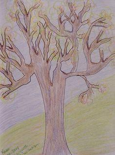 """New growth with hesitation"" -Karen, Sacramento, CA  #art #arttherapy #treedrawing #sacramento #hesitation #newgrowth"