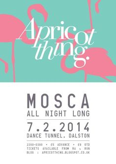 Apricot Thing feat. Mosca | Dance Tunnel | London | https://beatguide.me/london/event/dance-tunnel-apricot-thing-mosca-all-night-long-20140207