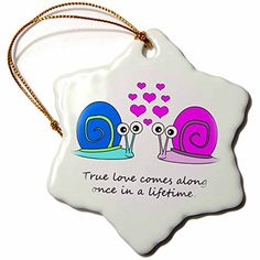 Janna Salak Designs True Love Comes Along Once in a Lifetime Cute Snail Design Snowflake Porcelain Ornament 3Inch * This is an Amazon Affiliate link. More info could be found at the image url.