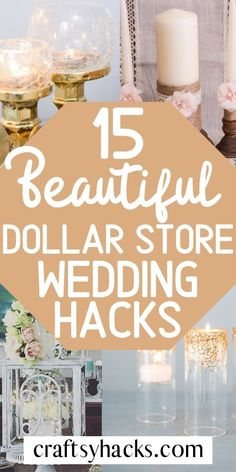 You can have a dollar store wedding thats low budget with these dollar store crafts. Get creative for the most important day of your life and get project ideas for your wedding. Low Budget Wedding, Wedding Tips, Wedding Planning, Wedding Hacks, Wedding Meme, Dollar Store Centerpiece, Diy Centerpieces, Fall Wedding Decorations, Wedding Crafts