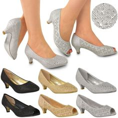 WOMENS LADIES LOW KITTEN HEELS COURT SHOES OPEN TOE WEDDING DIAMANTE PARTY SIZE #Branded #PlatformsWedges #Casual
