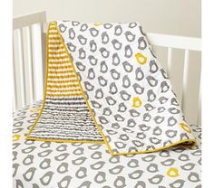 Baby Crib Bedding: Baby Grey & Yellow Patterned Crib Bedding