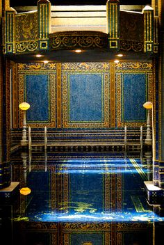 Indoor swimming pool - Hearst Castle, San Simeon, CA. I was reprimanded for taking a picture there by the guide, Chuck Walker.