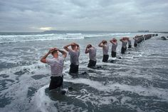 """Some highlights from the Navy SEAL workout: getting """"drown-proofed"""": swimming with bound arms and legs """"surf torture"""" (official name: water immersion): a prolonged bob in the Pacific Ocean jumping on and off a pier while being hosed down wi Navy Seal Training, Special Ops, Special Forces, Usmc, Marines, Gi Joe, Navy Seal Workout, Us Navy Seals, My Champion"""