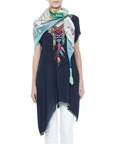 Sweet Dreams Embroidered Georgette Tunic & Blue Springs Printed Scarf by Johnny Was Collection at Neiman Marcus.