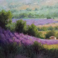 Ian Roberts course on composition. Notice depth in paintings oft cool colors in distance building in value as they come forward. All the foreground lines lead to the focal point, the little barn, as colors get deeper in value. Beautiful example.