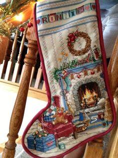 "Cross Stitch ""Study"" Christmas Stocking"