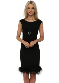 A classic LBD inspired by Audrey Hepburn's iconic Breakfast At Tiffany's dress this pencil dress with feather hem emulates sophisticated glamour. Designer Party Dresses, Designer Evening Dresses, Breakfast At Tiffany's Dress, New Dress Collection, Iconic Dresses, Black Party Dresses, Crepe Dress, Pencil Dress, Fashion Company
