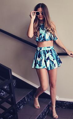 Palm Beach Printed Two-Piece Set - Forest Print