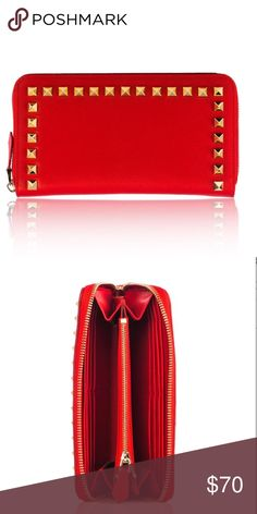 🆕 Red Italian Studded leather wallet NWT Stunning Italian all around leather with gold tone studded, 2 compartments with credit / debit card slots, coin zip closure interior, zip closure. Made in 🇮🇹 Italy. Bags Wallets