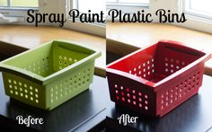 Im going to do exactly this with the bins that I've found at the Dollar Store. Once I figure out how many I will need and where they will go and what colors, I will spray paint all of them! probably silver Spray Paint Plastic Bins Painting Plastic Bins, Spray Paint Plastic, Silver Spray Paint, Plastic Shelves, Plastic Baskets, Plastic Storage, Plastic Laundry Basket, Laundry Baskets, Classroom Design