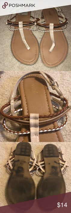 Brown Camel sandals with gold & braided detail Brown Camel sandals with gold & braided detail - worn once (wear can be seen on the bottom, but the top looks brand new) a size 11 medium width Shoes Sandals