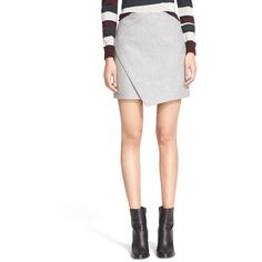 Carven Asymmetrical Wrap Wool Blend Skirt ($395) ❤ liked on Polyvore featuring skirts, gris clair chine, white knee length skirt, asymmetrical skirt, wrap front skirt, wrap skirt and carven skirt