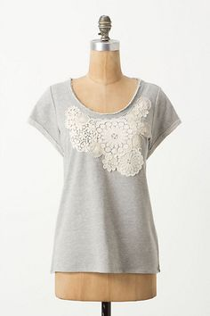 What Would Snow White Wear? A heather gray t-shirt with lacy details.