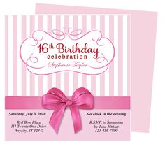 Sweet 16 Party : Girlie Birthday Invitation Template
