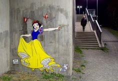 Суровая реальность сказок в стрит-арте Herr Nielsson