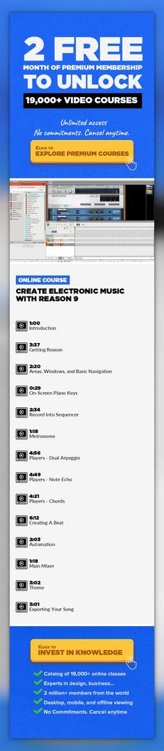 Create Electronic Music With Reason 9 Music, Music Composition, Music Fundamentals, Music Industry, Music Production, Creative, Reason #onlinecourses #onlinemastersprograms #onlinelessonsdigitalcitizenship   My course introduces you to the world of Reason with Propellerhead's latest edition of Reason 9, an amazingly efficient way to create high quality tracks, with its default export option being...