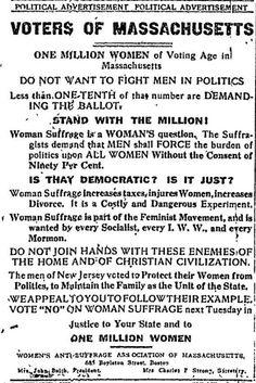 WOMEN'S SUFFRAGE:  Voting Hurts Women! 1915 political ad, Massachusetts
