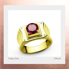 Today Only! 15% OFF this item.  Follow us on Pinterest to be the first to see our exciting Daily Deals. Today's Product: 10k Yellow Solid Gold Men's Ring with Ruby Gemstone and Genuine Diamonds Buy now: http://www.jewelsformen.com/products/copy-of-10-k-solid-yellow-gold-mens-ring-with-natural-2-40-ct-ruby-and-0-02-ct-diamonds?utm_source=Pinterest&utm_medium=Orangetwig_Marketing&utm_campaign=Daily%20Deal   #fashionnews #jewelrytrends #streetfashionstyle #mensjewelryfashion #jewelsformen…