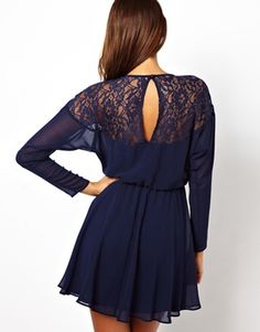 Lace Batwing Skater Dress