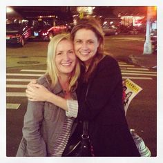 angela kinsey and jenna fischer, at Reasons to Be Happy, Off Broadway June 2013.