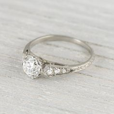 Art Deco Vintage .94 Carat Engagement Ring by ErstwhileJewelry, $10000.00