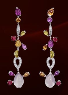 CARTIER multi gems and diamond earrings.