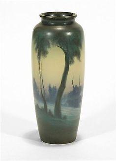 "Rookwood Pottery scenic vellum matte blue green 11"" vase FR arts & crafts 1918"