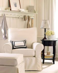 How to Choose Nursery Furniture | Pottery Barn Kids=== I like the nightstand next to glider and the shelf behind