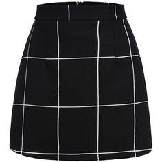 Black Plaid Mini Skirt (31 CAD) ❤ liked on Polyvore featuring skirts, mini skirts, bottoms, black, faldas, plaid miniskirt, stretch skirts, short miniskirt, tartan skirt and bodycon skirt