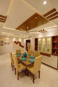Residential Home Interior: Dining room by RAK Interiors Kitchen Ceiling Design, House Ceiling Design, Ceiling Design Living Room, Bedroom False Ceiling Design, Home Room Design, Dining Room Design, Hall Interior Design, Home Interior, Home Entrance Decor