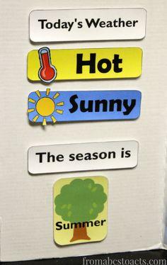 Teaching weather and season in home preschool.