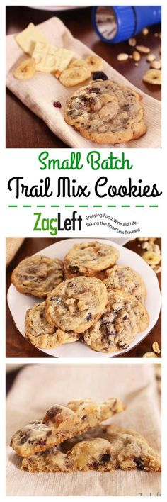 Small Batch Trail Mix Cookies, buttery and chewy in the middle yet crispy around the edges. Packed with healthy ingredients and so much easier to eat than trail mix! | www.zagleft.com