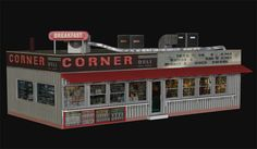 3D Model - The 3D corner deli building model for Poser and DAZ Studio, comes with textured windows and with clear windows. The model also has a door that opens and well detailed textures. Both downloads include the textures. the interior has basic textures (wall, floor tile and ceiling colors).