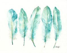 Blue Goose Feathers Painting Watercolor Giclee by GrowCreativeShop, $25.00 8x10