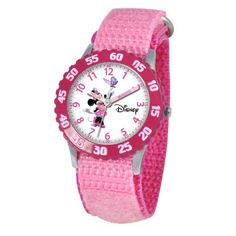 Disney Kids' W000025 Minnie Mouse Stainless Steel Time Teacher Watch Disney. $31.00. Stainless steel case, water resistant to 3ATM. Accurate quartz movement. Time Teacher watch design with labeled Hour & Minute hands, recommended for ages 3-7 yrs old. 1 year limited manufacturer's warranty. Meets or exceeds all US Government requirements and regulations for children's watches. Save 11%!