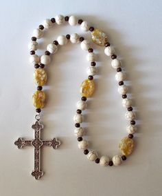 Off-White Veined Ceramic and Crush Glass Beaded Anglican Prayer Beads by SoFineDesigns on Etsy