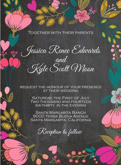 Chalkboard and Bright Flowers Wedding Invitation $2.25