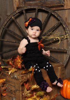 Halloween Gift Set - Adorned Hat, Ruffled Lace Petti Romper, Leg Warmers / Baby Legs - Halloween, Fall, Autumn - Baby, Girl, Child