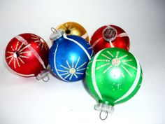 Vintage Christmas Ornaments Set of 5 West German by ChromaticWit, $14.99