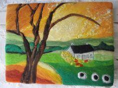 felt painting, felt picture, textile art on canvas, golden skies, 9 x 12 inches